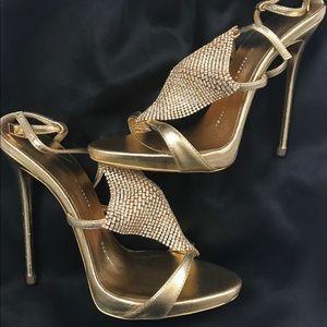 Giuseppe Zanotti gold jeweled sandals